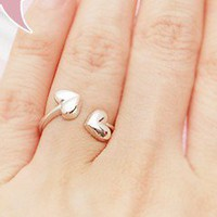 Fashion Silver Tone Heart To Heart Band Ring at Online Cheap Fashion Jewelry Store Gofavor