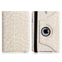 Wisedeal Quality New Leopard Pattern PU &amp; Plastic Leather 360 Rotatable Rotating Smart Stand Protective Folio Cover Flip Case for Apple iPad Mini White
