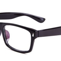 Chris Eyeglasses with Black Plastic Rectangle Full Frame/Rim Frame