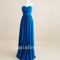 Custom Beach Sweetheart Sleeveless Floor-length Chiffon Cheap Bridesmaid/Evening/Party/Homecoming/Prom/Cocktail Dresses 2013 With Ruffles