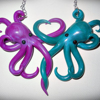 Intertwined Octopi in love Necklace, purple and blue