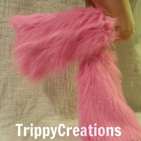 Fluffies light pink glitter. Fluffie leg warmers great for raves and festivals.