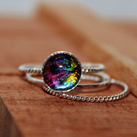 Real Sunset Moth Wing Sterling Silver Stack Rings Sizes 6 7 8 9 or 10 Real Butterfly Wing 8mm Round Jewelry