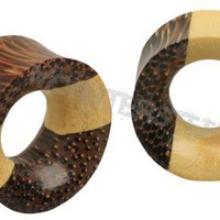 Three Wood Laminated Organic Earlet Tunnel | Plugs - Monster Steel