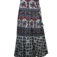 Cotton Wrap Around Long Skirt Vintage Grey Red Elephant Print Wrap Skirts | Mogul Interior