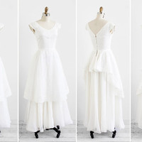 Vintage 1950's Wedding Dress / White Organdy Eyelet Wedding Dress by Bonwit Teller
