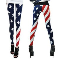 Amazon.com: LOCOMO Women Patriot Patriotic American US Star Country Flag Legging Tregging Tight Ankle Length Footless FFT007 One Size Blue Red White: Clothing