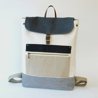 Natural Ivory Canvas Backpack with Stylish Front Zipped Pocket, Unique Design of BagyBag