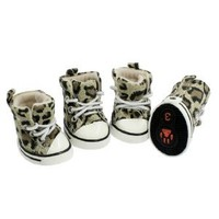 BNM Corporation - Amazon.com: Como Puppy Pet Dog Booties Leopard Sports Sneakers Shoes Size 3 4 Pcs: Pet Supplies