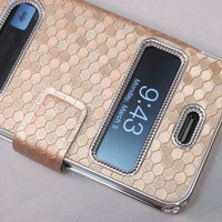 Gold Silver Luxury Luxurious Synthetic Leather Magnetic Flip Case Cover Protector Skin for iPhone 4
