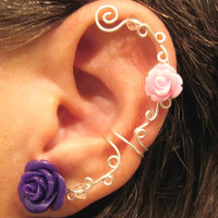 "Non Pierced Ear Cuff  ""Roses are Beautiful"" Cartilage Conch Cuff Silver tone SOME Roses are on Back Order"