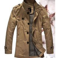 Free Shipping Khaki Single Breasted Green Business Casual Men Wind Coat M/L/XL/XXL 416A520ka from clothingloves