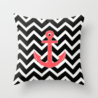Infra Red Anchor Black Chevron Pattern Throw Pillow by Rex Lambo | Society6