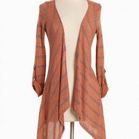 raking leaves striped asymmetrical cardigan at ShopRuche.com, Vintage Inspired Clothing, Affordable Clothes, Eco friendly Fashion