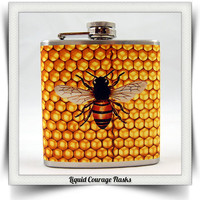 Honey Bee Hip Flask Honey Comb Black and Yellow by LiquidCourage