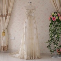 Gold Wedding Dress with Vintage Inspired by weddingdressfantasy