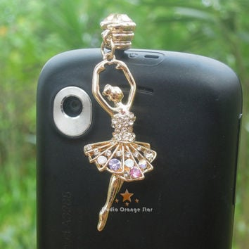 1PC Bling Crystal Dancing Girl Earphone Charm by StudioOrangeStar