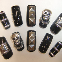 Black &amp; Silver Studded Nails full false/fake 3D nail with pyramid stud skulls chainspunk, goth, gothic lolita, biker girl, visual kei