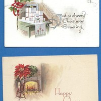 2 Vintage Pink of Perfection Christmas Postcards, 1915 Cancel, Crafting, scrapbooking, card making