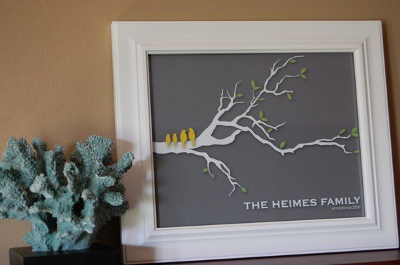Personalized Love Bird Family Tree Branch  8x10 by karimachal