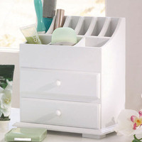New White Wooden 2 - Drawer Bathroom / Beauty / Desk Top / Storage Organizer