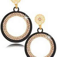 LK DESIGNS CRYSTAL Round Black Earrings - ACCESSORIES | JEWELRY | Earrings | Pierced | PRET-A-BEAUTE.COM