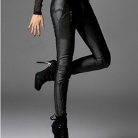 Black Skinny Low-rise PU Pants with Zip Detail