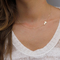 Sideways Cross Necklace,  Gold Kelly Ripa Sideways Necklace 14kt Gold Filled - FREE SHIPPING