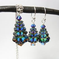 Color changing crystal Christmas tree silver by WinterberryJewelry