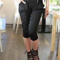 China Clothing Distributor Elastic Waist Black Ladies Pants : Yoco-fashion.com