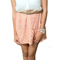 Pink Floral Lace Skirt w/ Belt