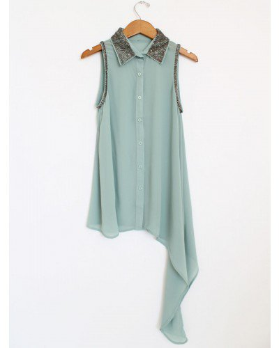 Sequin Collar Draped Tank - Mint