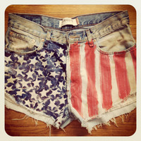 American Flag denim shorts by LavishStyles on Etsy