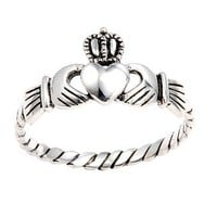 Authentic .925 Sterling Silver Irish Friendship & Love Claddagh Ring Antique Finish Special Limited