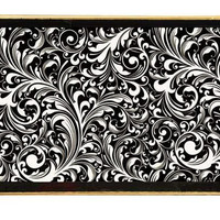 Black Florentine Decoupage Wooden Tray