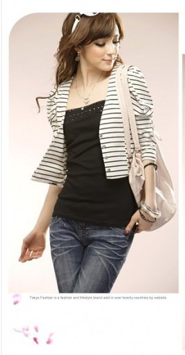 Wholesale Fashion Strips Button Front Coat White
