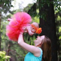 fuchsia pink coral orange tutu and flower headband by TiarasTutus