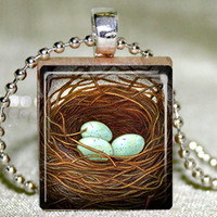 Bird Nest Scrabble Pendant With Nec.. on Luulla