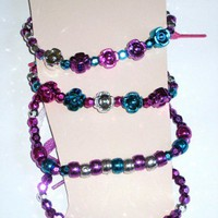 Set of Four Shoelace Anklets Ankle Bracelets with Bright Color Beads