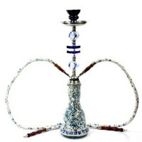 "Never Exhale TM 19"" Premium Double Hose Glass Mosaic Hookah (Blue):Amazon:Health & Personal Care"
