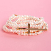 Pearly Edition Cross and Pearl Bracelet Set