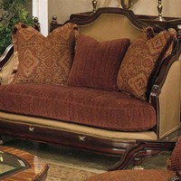 Home Living Style Living Room Furniture - Italian Buff Loveseat with Carnelian Seat Cushion, Inset Accents