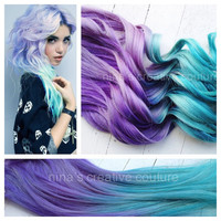 "Ombre Hair,Tie dye Hair, Festival Hair, Hair Extensions, Lavender and Icy Blue Green, 18"", Double Wefted"