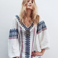 Free People All Roads Embroidery Double V Tunic