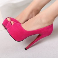 Open Toe Colored Pumps