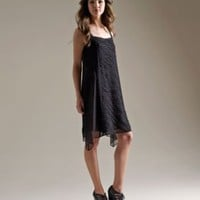 Square Neck Dress with Slip in Crinkle Chiffon Ribbons