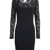 REISS Womens Foxy Black Lace Sleeve Dress