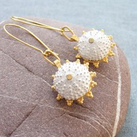 Gold and White Sea Urchin Earrings - Beach Jewelry