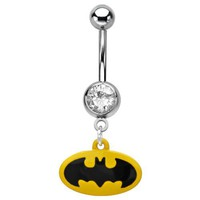 Body Accentz® Belly Button Ring Navel 316L Surgical Steel, Cubic Zirconia, Logo, Gem, Batman Body J