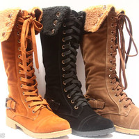 Winter Military Zipper Shearling Lace Up Knee High Mid Calf Boot Women&#x27;s Shoes